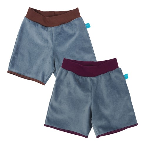 Kids Active Shorts Light Blue eco plush cotton colourful waist » bingabonga