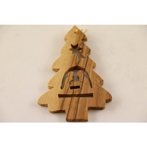 "Olive Wood Advent ornaments ""Christmas Tree with Maria & Joseph"