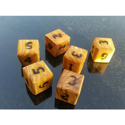 Dice made of Olive Wood, 6 pieces | D.O.M.