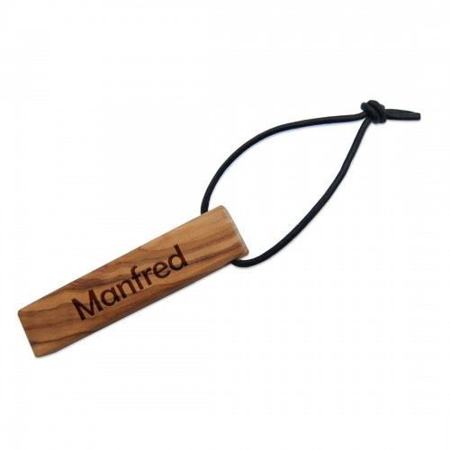 Olive Wood Keychain 'Small Plate' customised engraving » D.O.M.