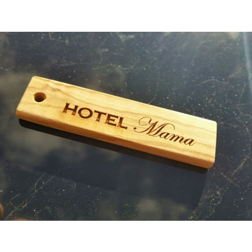 "Olive Wood Keychain ""Small Plate"" with Engraving 
