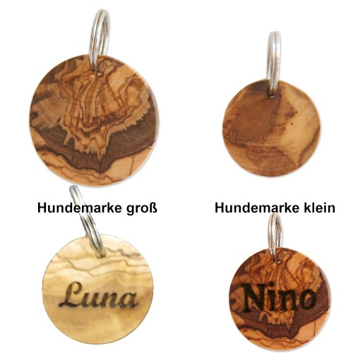 Dog Tag of Olive Wood with engraving | Olivenholz erleben