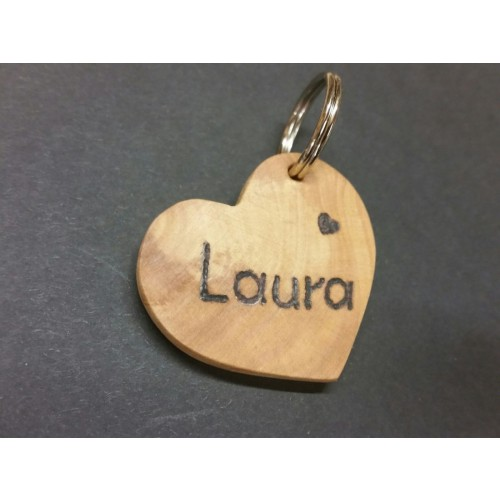 "Custom Engraved Dog Tag ""Heart"" of Olive Wood 