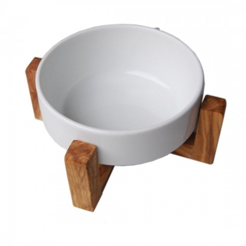Pet Food Bowl PIATTO Olive Wood & Porcelain | D.O.M.