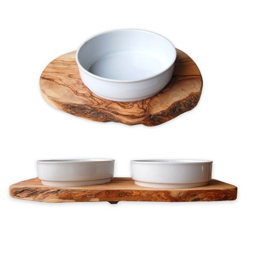 Dog's Feeding Bowls RUSTY Olive Wood & Porcelain | D.O.M.