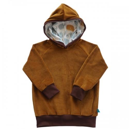 bingabonga Hoodie Golden Brown organic Cotton Plush, lined hood Whales