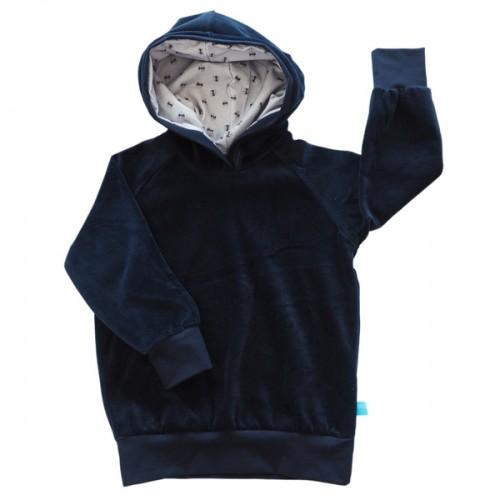 Kids Hoodie Navy organic cotton plush, lined hood ANTS » bingabonga