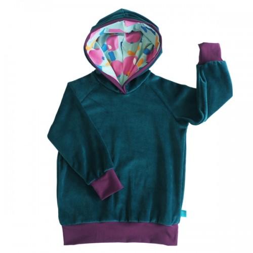 Hoodie Teal Organic Cotton Plush, lined hood Pink Apples » bingabonga