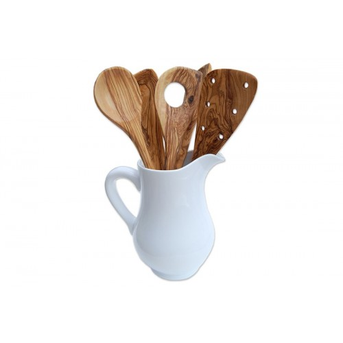 Kitchen Tools Set of Olive Wood & Ceramic Milk Jug Tool Crock