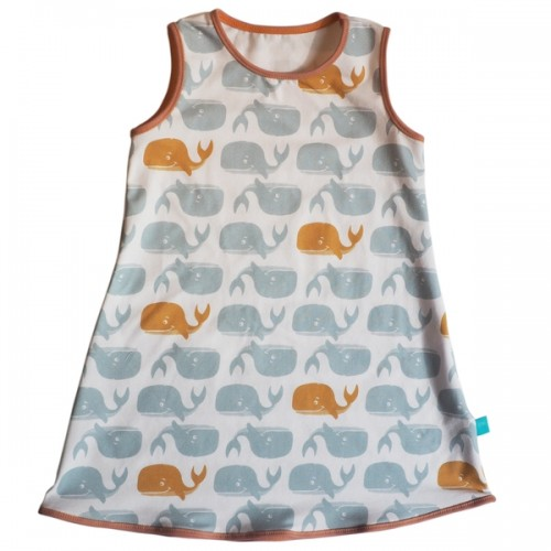 Summer Dress Cute Whale Print, Organic Cotton » bingabonga