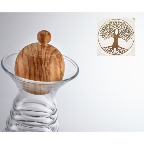 Nature's Design Carafe Alladin Tree of Life gold, Olive Wood Top