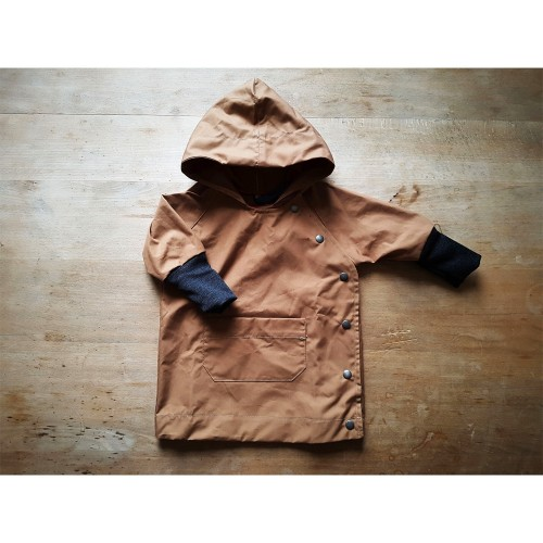 All-weather Baby Jacket with wool cuffs, EtaProof Organic Cotton, camel | Ulalue