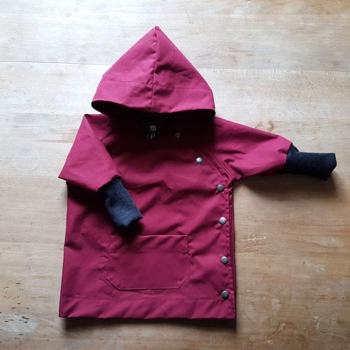 Baby Rain Jacket with wool cuffs, EtaProof organic cotton, berry | Ulalue