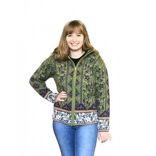 Green-Grey Alpaca Norwegian Patterned Cardigan Amanda