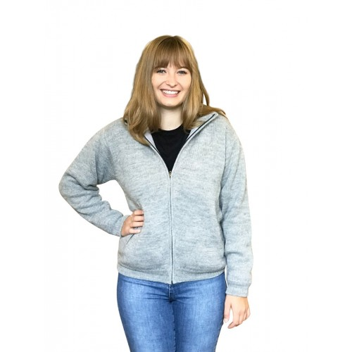 Alpaca Grey Cardigan for women, German-made | Albwolle