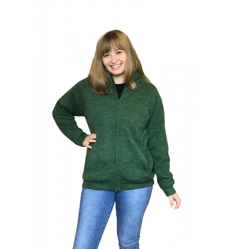 Alpaca Green Cardigan - women's outdoor sweater | Albwolle