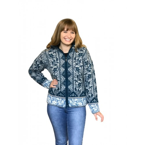 Alpaca blue patterned Cardigan Lotta, German-made | Albwolle
