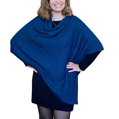 Alpaca Poncho plain petrol, German-made alpaca wool | Albwolle