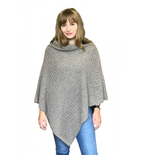 Alpaca Poncho plain beige, German-made alpaca wool | Albwolle