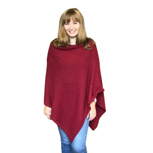 Alpaca Poncho plain red, German-made alpaca wool | Albwolle