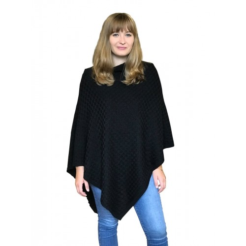 Alpaca Poncho plain black, German-made alpaca wool | Albwolle