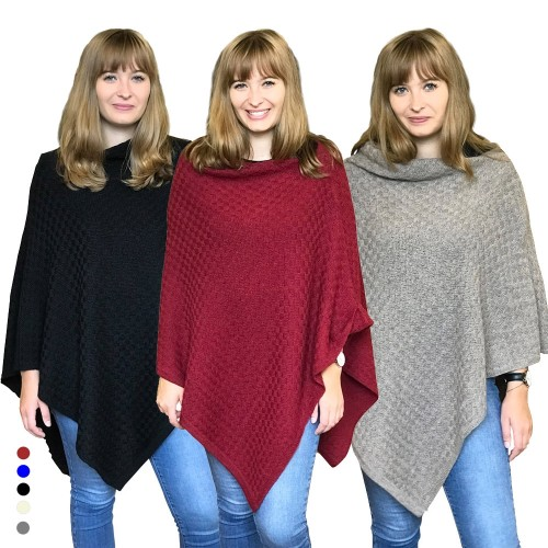 Alpaca Poncho plain, German-made alpaca wool | Albwolle