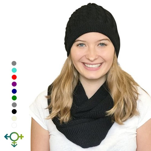 Alpaca Matching Set Loop Scarf & cable-knit Hat | Albwolle
