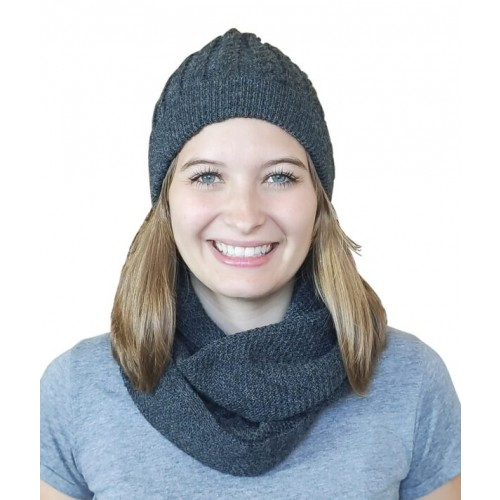 Alpaca Matching Set Loop Scarf & cable-knit Hat, anthracite | Albwolle