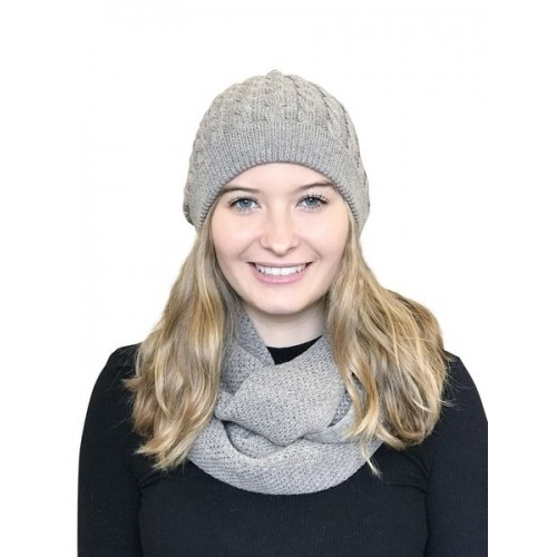 Alpaca Matching Set Loop Scarf & cable-knit Hat, beige | Albwolle