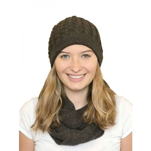 Alpaca Matching Set Loop Scarf & cable-knit Hat, brown | Albwolle