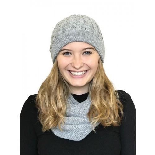 Alpaca Matching Set Loop Scarf & cable-knit Hat, grey | Albwolle