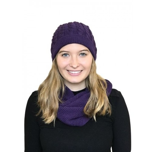 Alpaca Matching Set Loop Scarf & cable-knit Hat, purple | Albwolle