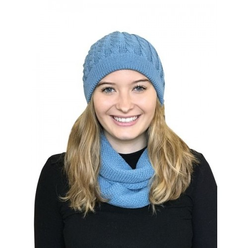 Alpaca Matching Set Loop Scarf & cable-knit Hat, petrol | Albwolle