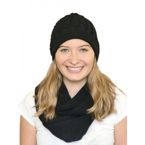 Alpaca Matching Set Loop Scarf & cable-knit Hat, black | Albwolle
