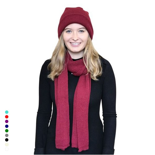Alpaca Matching Set Hat & Scarf, various colours | Albwolle