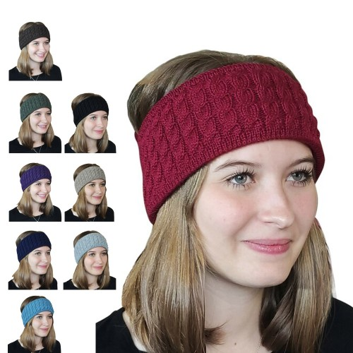 Alpaca Pure Colour cable-knit Head Band | Albwolle