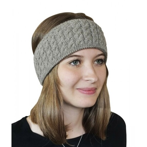 Alpaca Pure Colour cable-knit Head Band, beige | Albwolle