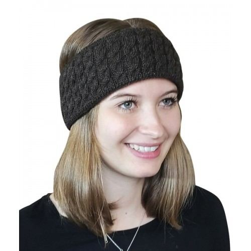 Alpaca Pure Colour cable-knit Head Band, brown | Albwolle