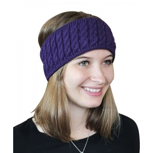 Alpaca Pure Colour cable-knit Head Band, purple | Albwolle