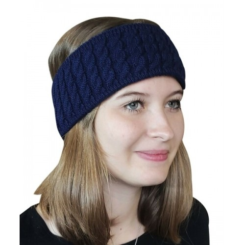 Alpaca Pure Colour cable-knit Head Band, navy   Albwolle