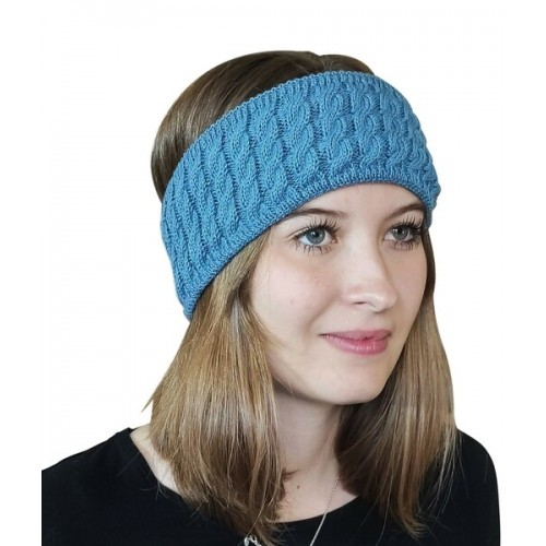 Alpaca Pure Colour cable-knit Head Band, petrol | Albwolle
