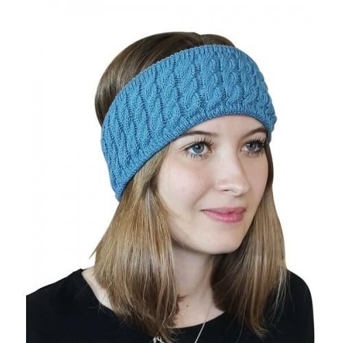 Alpaca Pure Colour cable-knit Head Band, petrol   Albwolle