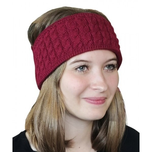 Alpaca Pure Colour cable-knit Head Band, red | Albwolle
