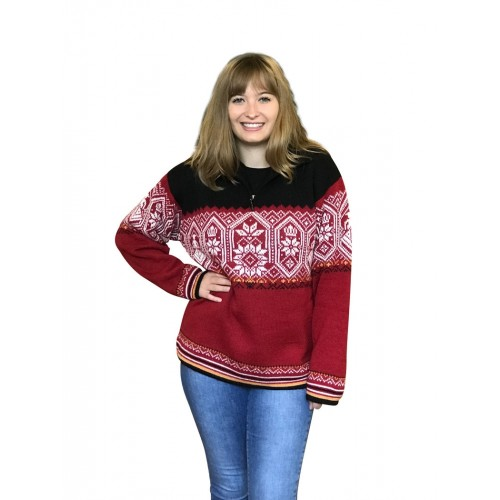 Oslo Women's Norwegian half zip alpaca sweater | Albwolle