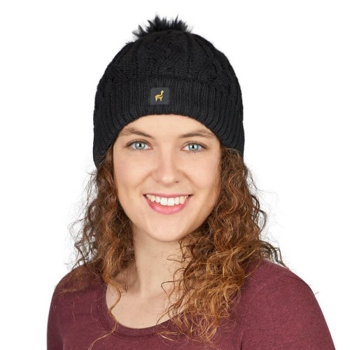 Alpaca Beanie Hat with Pom Andrea Twin II, cable-knit | AlpacaOne