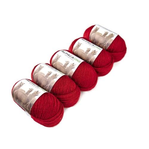 Alpacaone Baby Alpaca wool ball 5 pack red, OEKO-TEX