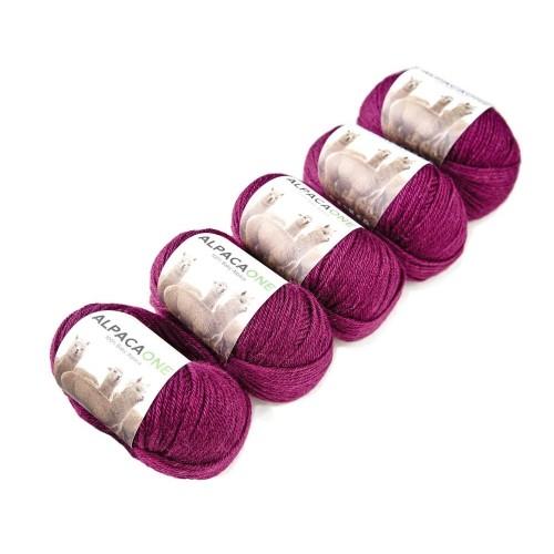 Alpacaone Baby Alpaca wool ball 5 pack ruby, OEKO-TEX