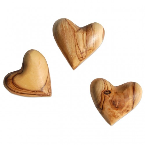 AMORE - 3 Decoration Hearts made of Olive Wood | D.O.M.