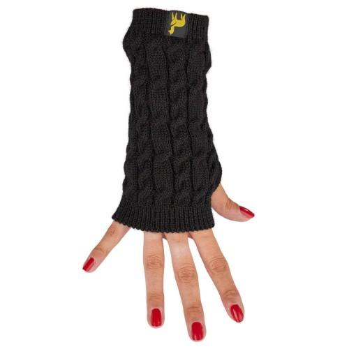 Alpaca Wrist Warmer Arosa for women, black cable-knit | AlpacaOne