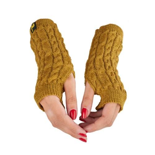 Alpaca Wrist Warmer Arosa for women, Mustard Yellow cable-knit | AlpacaOne